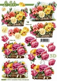3D Bogen Blumen im Korb - Format A4
