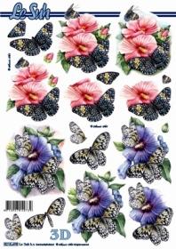 3D Bogen Blumen+Schmetterlinge - Format A4