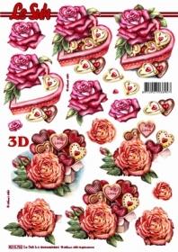 3D Bogen Herzdose+Rosen Format A4 - Format A4