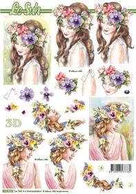 3D Bogen Frau mit Blumenkranz - Format A4