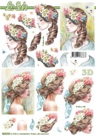 3D Bogen Frau mit Blumen+blaue Schleife - Format A4