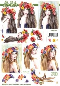 3D Bogen Frau mit Blumen im Haar - Format A4