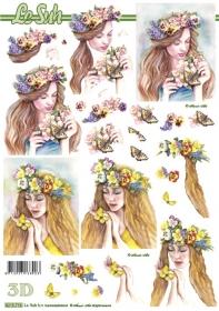 3D Bogen Blumen-Frau - Format A4