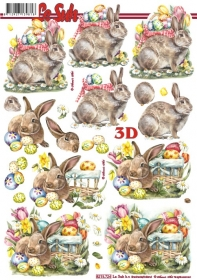 3D Bogen Osterhase mit Korb - Format A4