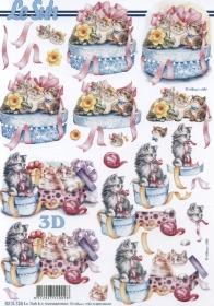 3D Bogen Geschenkdose mit Katzen Format A4 - Format A4