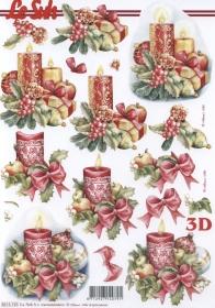 3D Bogen Weih.-Kerze Format A4 - Format A4