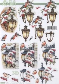 3D Bogen Vogel +Laterne im Schnee Format A4 - Format A4