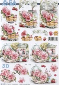 3D Bogen Blumen+Kuchen+Obst Format A4 - Format A4