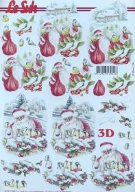 3D Bogen Weihnachtsmann und Blaumeise - Format A4
