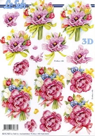 3D Bogen Blumenstrauß - Format A4