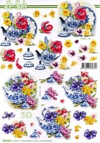 3D Bogen Blumen und Geschirr - Format A4