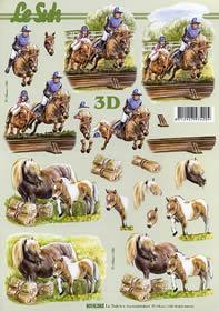 3D Bogen Reitsport+Pferde - Format A4