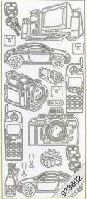 Stickers PKW+PC+Camera silber - silber