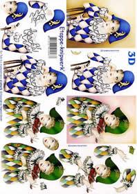 3D Bogen Pierrots blau+grün - Format A4