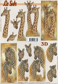 3D Bogen Giraffe und Zebra - Format A4