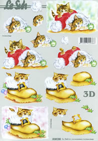 3D Bogen Katze in Weihnachtsm?tze - Format A4