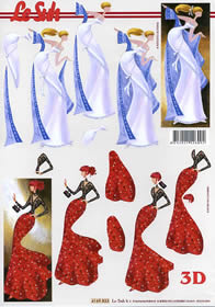 3D Bogen - Dame - blau+rot Format A4