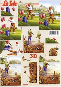 3D Bogen Golfspieler + Fischer - Format A4