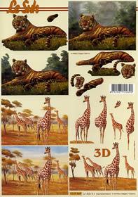 3D Bogen Tiger und Giraffe - Format A4