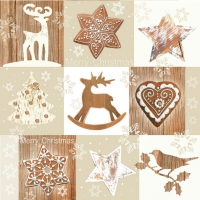 Servietten 33x33 cm - Christmas Brown Collage