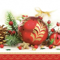Servietten 33x33 cm - Red Decorative Bauble