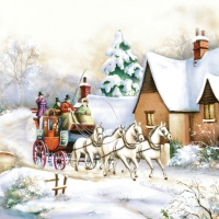 Servietten 33x33 cm - Winter Carriage Ride
