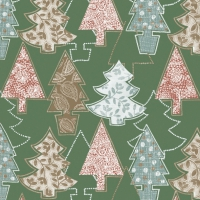 Servietten 33x33 cm - Graphic Xmas Trees Green
