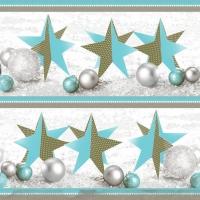 Servietten 33x33 cm - Handgefertigte Weihnachtssterne Blau
