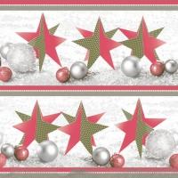 Servietten 33x33 cm - Handgemachte Weihnachtssterne Rot