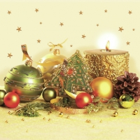 Servietten 33x33 cm - Xmas Gold & Green Decoration