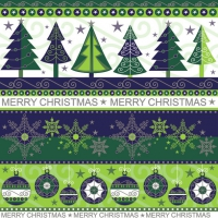Servietten 33x33 cm - Xmas Wallpaper Cobalt & Green