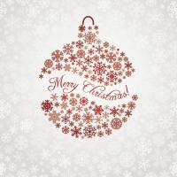 Servietten 33x33 cm - Weihnachten Schneeflocke Kugel Rot