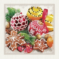 Servietten 33x33 cm - Fancy Baubles, Oranges & Cookies