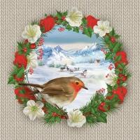 Servietten 33x33 cm - Bullfinch Bird on Wreath