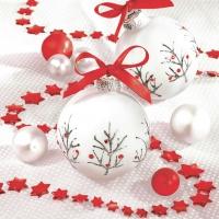 Servietten 33x33 cm - White & Red Baubles