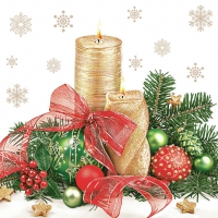 Servietten 33x33 cm - Xmas Gold Candles Centrepiece