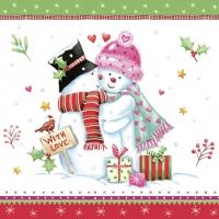 Servietten 33x33 cm - Lovely Snowmen