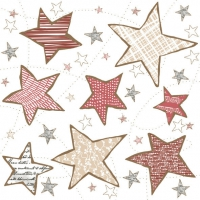 Servietten 33x33 cm - Irregular Graphic Stars Red & Beige