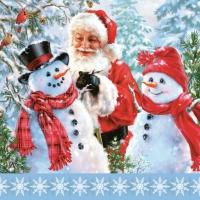 Servietten 33x33 cm - Santa with Snowmen
