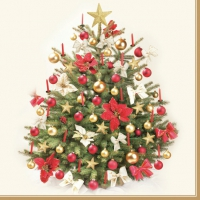Servietten 33x33 cm - Traditional Gold and Red Christmas Tree