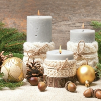 Servietten 33x33 cm - Xmas Candles in Knitting Sweater