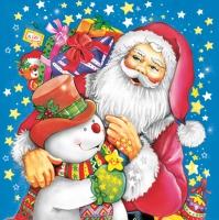 Servietten 33x33 cm - Painted Santa and Snowman