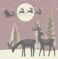 Servietten 33x33 cm - Reindeers and Santa Cut-Outs Dusty Pink