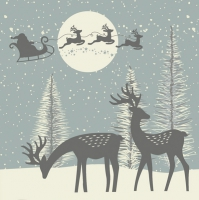 Servietten 33x33 cm - Reindeers and Santa Cut-Outs Dusty Blue