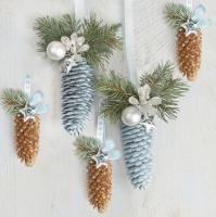 Servietten 33x33 cm - Natural and Blue Spruce Cones