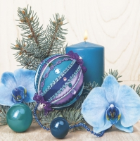 Servietten 33x33 cm - Turquoise Composition with Orchid