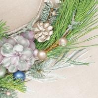 Servietten 33x33 cm - Succulent Wreath on Linen