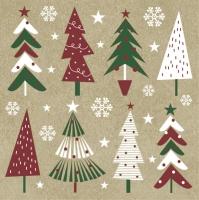 Servietten 33x33 cm - Christmas Trees on Kraft