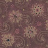 Servietten 33x33 cm - Gold & Red Stars and Twirls on Claret