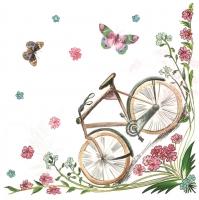 Lunch Servietten Blumen+Fahrrad